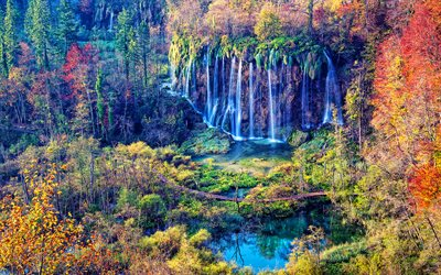 Plitvice Lakes National Park, autumn, beautiful nature, waterfalls, HDR, Croatian landmarks, Europe, Croatia