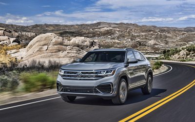 Volkswagen Atlas Cross Sport, road, 2019 cars, SUVs, 2019 Volkswagen Atlas Cross Sport, german cars, Volkswagen