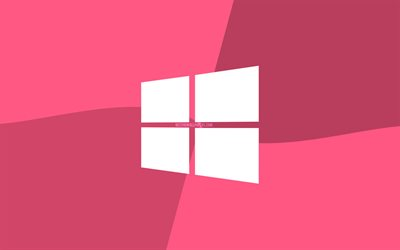 Windows 10 pink logo, 4k, Microsoft logo, minimal, OS, pink background, creative, Windows 10, artwork, Windows 10 logo