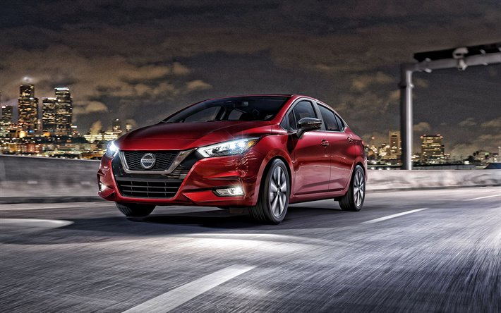 2020, Nissan Versa, exterior, front view, compact sedan, new red Versa, japanese cars, Nissan