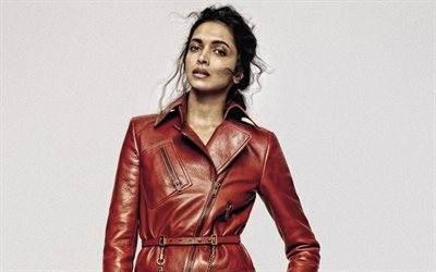 Deepika Padukone, Indian actress, photoshoot, red leather coat, Indian star, Bollywood