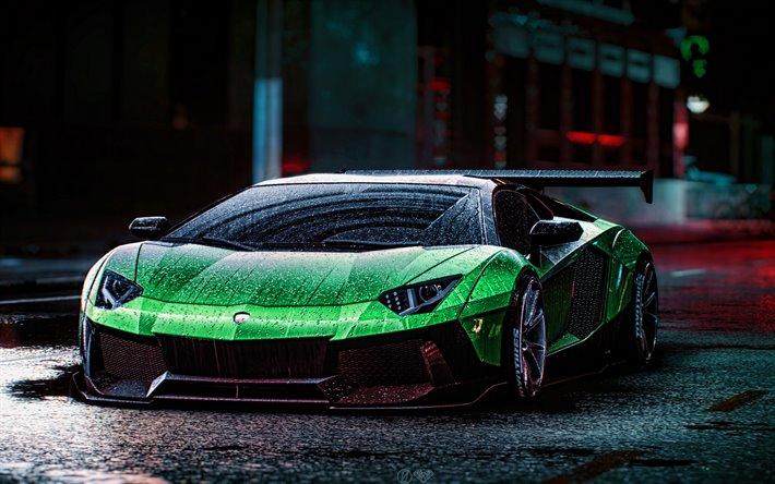Download Wallpapers 4k Lamborghini Aventador Rain Tuning