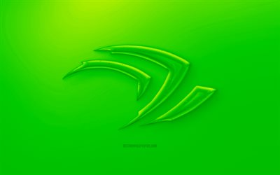 Nvidia Claw 3D logo, Green background, Green Nvidia Claw jelly logo, Nvidia Claw emblem, creative 3D art, Nvidia