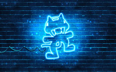Monstercat blue logo, 4k, superstars, blue brickwall, Monstercat logo, artwork, Monstercat neon logo, music stars, Monstercat