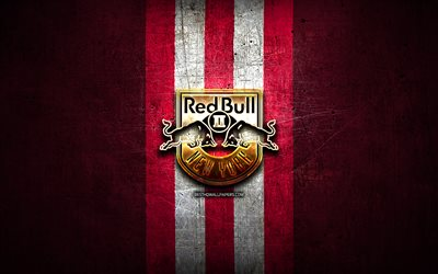 New York Red Bulls II FC, golden logo, USL, red metal background, american soccer club, United Soccer League, New York Red Bulls II logo, soccer, USA