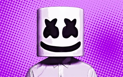 DJ Marshmello, 4k, comic art, superstars, Christopher Comstock, violet comic background, Comic Marshmello, DJs, Marshmello