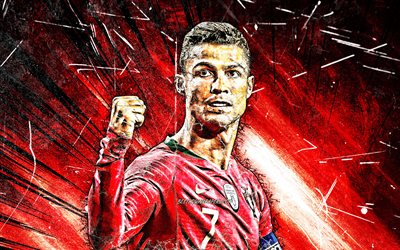 Cristiano Ronaldo, grunge art, Portugal National Team, soccer, CR7, red rays, Portuguese football team, Ronaldo, Cristiano Ronaldo dos Santos Aveiro, Grunge Cristiano Ronaldo