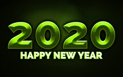 2020 olive 3D digits, 4k, olive metal grid background, Happy New Year 2020, 2020 metal art, 2020 concepts, olive metal digits, 2020 on olive background, 2020 year digits