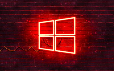 Windows 10 red logo, 4k, red brickwall, Windows 10 logo, brands, Windows 10 neon logo, Windows 10