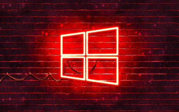 Download wallpapers Windows 10 red logo, 4k, red brickwall ...