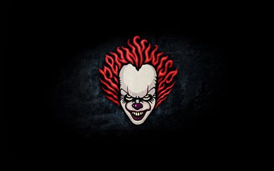 4k, Pennywise, minimal, It Chapter Two, 2019 cars, Detective films, clown, fan art
