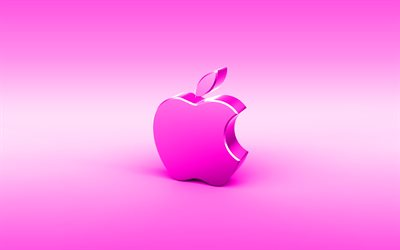 Apple purple 3D logo, minimal, purple background, Apple logo, creative, Apple metal logo, Apple 3D logo, artwork, Apple