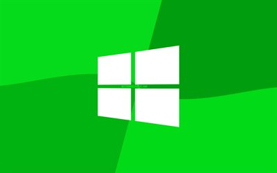 Windows 10 green logo, 4k, Microsoft logo, minimal, OS, green background, creative, Windows 10, artwork, Windows 10 logo