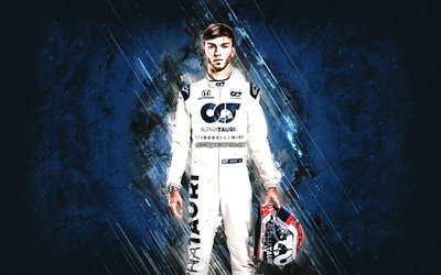 Pierre Gasly, Scuderia AlphaTauri, Formula 1, French racing driver, F1, blue stone background