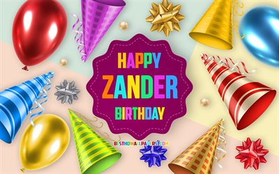 Happy Birthday Zander, 4k, Birthday Balloon Background, Zander, creative art, Happy Zander birthday, silk bows, Zander Birthday, Birthday Party Background