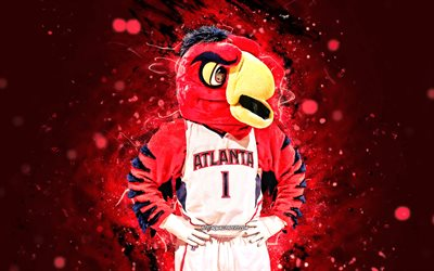 Harry the Hawk, 4k, mascot, Atlanta Hawks, red neon lights, NBA, Atlanta Hawks mascot, NBA mascots, official mascot, Harry the Hawk mascot