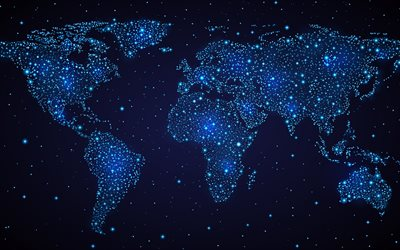 neon blue light world map, blue lights, world map concepts, communication world map, blue world map, technology world map