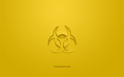 biological hazard 3d icon, yellow background, 3d symbols, biological hazard, creative 3d art, 3d icons, biological hazard sign, Warning 3d icons, bio hazard icon