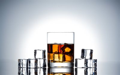 3d glass with whiskey, gray background, whiskey, 3d ice cubes, whiskey with ice