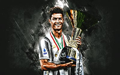 Cristiano Ronaldo, CR, Coppa Italia, portrait, Italy, football, gray stone background, Ronaldo with Coppa Italia