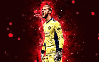 David de Gea, 2020, yellow uniform, Manchester United FC, spanish footballers, David de Gea Quintana, Premier League, 4k, Paul Labile Pogba, red neon lights, David de Gea Manchester United, Man United, David de Gea 4K, soccer, football