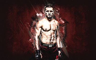 Zelim Imadaev, UFC, MMA, russian fighter, portrait, burgundy stone background, Ultimate Fighting Championship