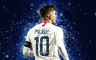Christian Pulisic, 4k, back view, USA National Team, soccer, Christian Mate Pulisic, footballers, blue neon lights, Christian Pulisic 4K, American soccer team