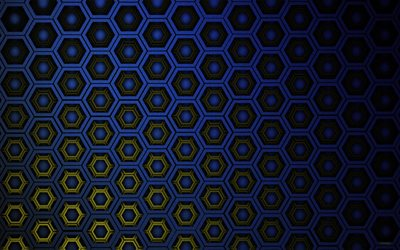 blue hexagons, 4k, cells patterns, hexagons 3D texture, honeycomb, hexagons patterns, hexagons textures, 3D textures, blue backgrounds, cells textures