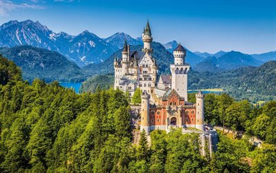 Neuschwanstein Castle, Schwangau, romantic castle, mountain landscape, castles of Germany, Germany