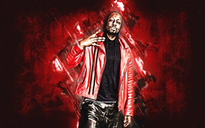 Wyclef Jean, Haitian rapper, red stone background, creative art, Nel Ust Wyclef Jean