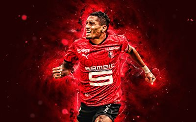 Raphinha, 4k, 2020, Stade Rennais FC, soccer, french footballers, Ligue 1, Raphael Dias Belloli, football, red neon lights, Raphinha 4K