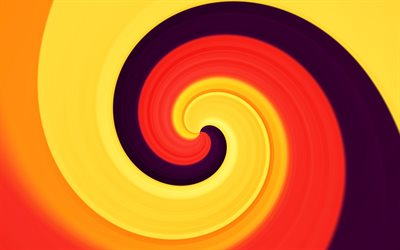 orange twirl background, 4k, creative, vortex, orange backgrounds, colorful backgrounds, wavy textures, abstract backgrounds