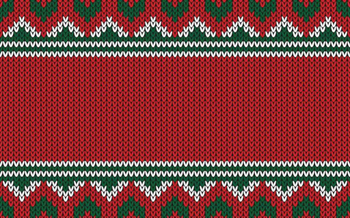 Christmas red ornament texutra, Christmas red background, New Year, Christmas texture, ornament knitted background, Christmas knitted texture