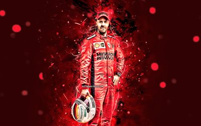 Sebastian Vettel, 2020, 4k, Scuderia Ferrari Mission Winnow, german racing drivers, Formula 1, red neon lights, F1 2020