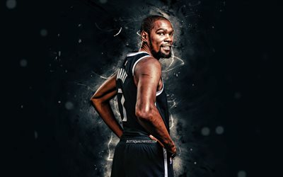 Kevin Durant, back view, 4K, Brooklyn Nets, NBA, basketball, Kevin Wayne Durant, USA, white neon lights, Kevin Durant Brooklyn Nets, fan art, Kevin Durant 4K