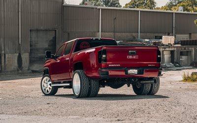 GMC Sierra 3500HD, 2020, red heavy duty pickup truck, exterior, tuning 3500HD, american cars, GMC