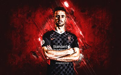 Diogo Jota, Liverpool FC, portrait, Black Liverpool FC uniform, Portuguese footballer, midfielder, football, creative art