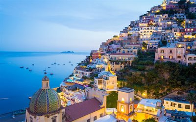 Positano, Ligurian coast, evening, sunset, mountains, seascape, Amalfi, Italy