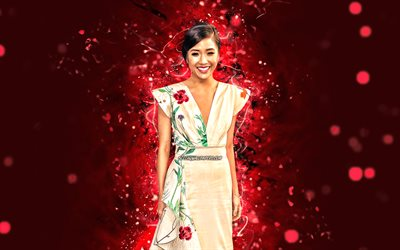 Constance Wu, 4k, red neon lights, Hollywood, american actress, movie stars, american celebrity, Constance Wu 4K