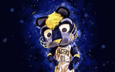 Boomer, 4k, mascot, Indiana Pacers, blue neon lights, NBA, creative, USA, Indiana Pacers mascot, NBA mascots, official mascot, Boomer mascot