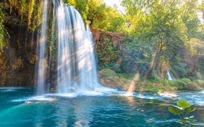 Kursunlu Waterfall, Antalya, waterfalls, lake, summer, tourism, Turkey