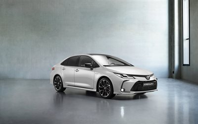 Toyota Corolla GR Sport, 2020, front view, exterior, new white Corolla, Japanese cars, Toyota