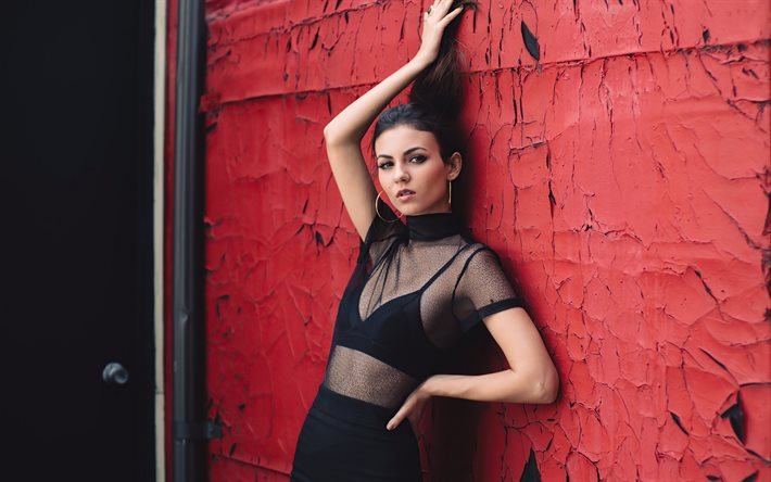 Victoria Justice, american actress, black dress, photoshoot, popular actresses