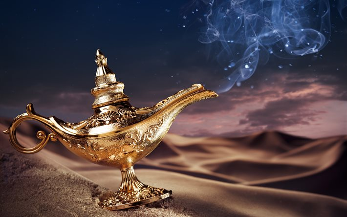 Aladdins lamp, 4K, desert, dunes, fairy tale, smoke, lamp