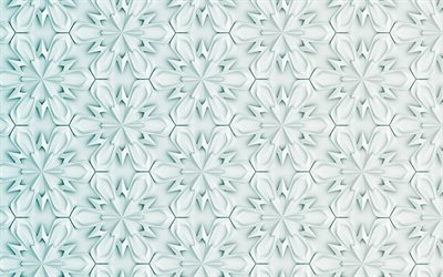 3D snowflakes background, 4k, snowflakes pattern, winter backgrounds, snowflakes, 3D snowflakes textures