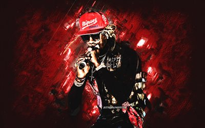 Young Thug, american rapper, Jeffery Lamar Williams, portrait, red stone background