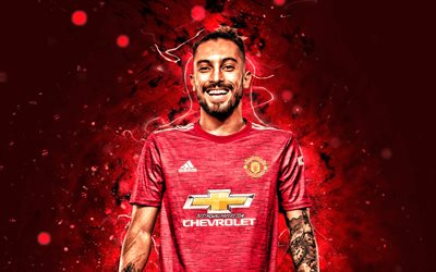 Alex Telles, 2020, 4k, Manchester United FC, brazilian footballers, red neon lights, Premier League, soccer, Alex Nicolao Telles, football, Man United, Alex Telles Manchester United