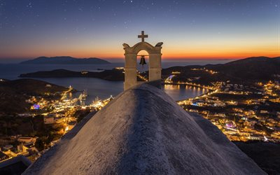 Chora Hill, Ios, Church of Saint Irene, Greek island, Ios island, evening, sunset, Aegean, Greece