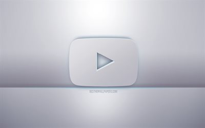 YouTube 3d white logo, gray background, YouTube logo, creative 3d art, YouTube, 3d emblem