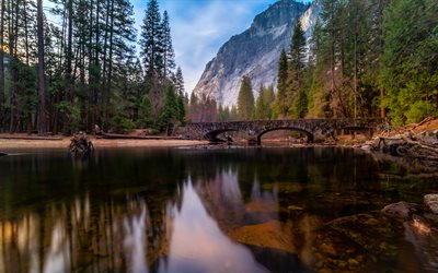 Ahwahnee Bridge, Merced River, evening, sunset, mountain landscape, mountain river, Yosemite National Park, USA
